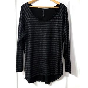 Seven7 Black and Silver Stripe Long Sleeve 18/20